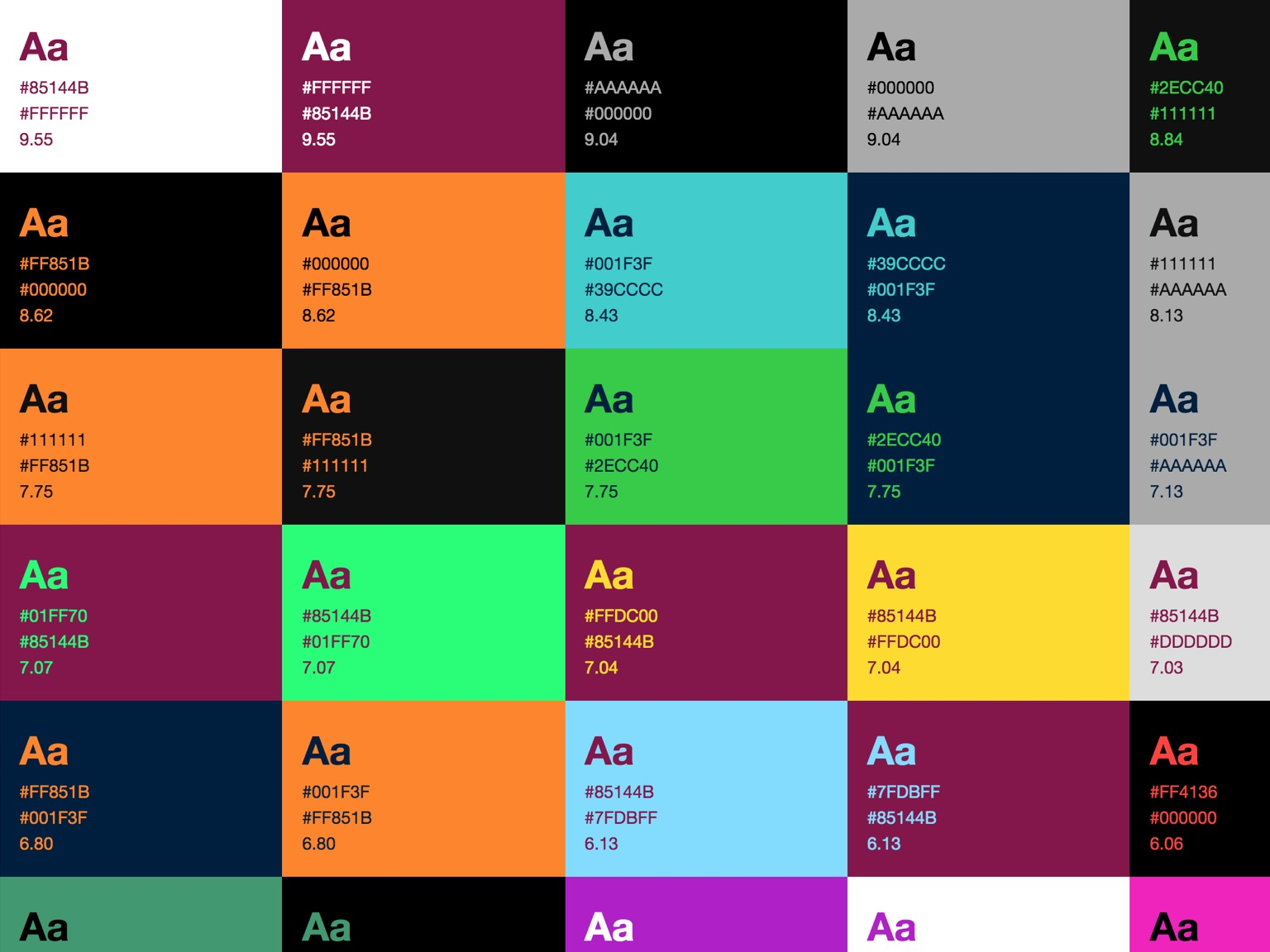 Color Combination color palette documentation for living style guides | writing